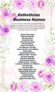 esthetician business name ideas
